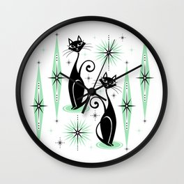 Mid Century Meow Retro Atomic Cats - w/ Mint on White Wall Clock