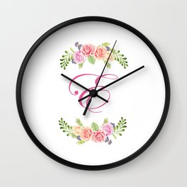 Floral Initial Letter E Wall Clock