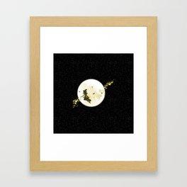 Flying Witch over Full Moon Framed Art Print