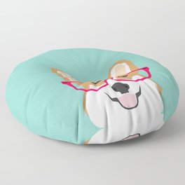 Teagan Glasses Corgi cute puppy welsh corgi gifts for dog lovers and pet owners love corgi puppies Floor Pillow