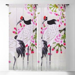Chinese - Crane and Sakura Blackout Curtain