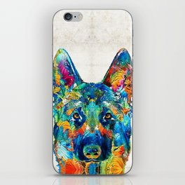 Colorful German Shepherd Dog Art By Sharon Cummings iPhone Skin