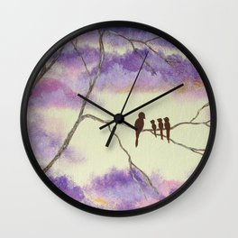 A Mothers Blessings, Birds in Tree Wall Clock