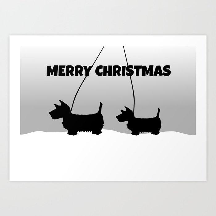 Scottish White Christmas Art Print