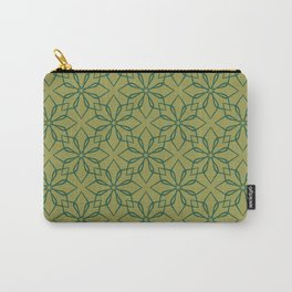 Geometric flower pattern. Green and olive. Carry-All Pouch