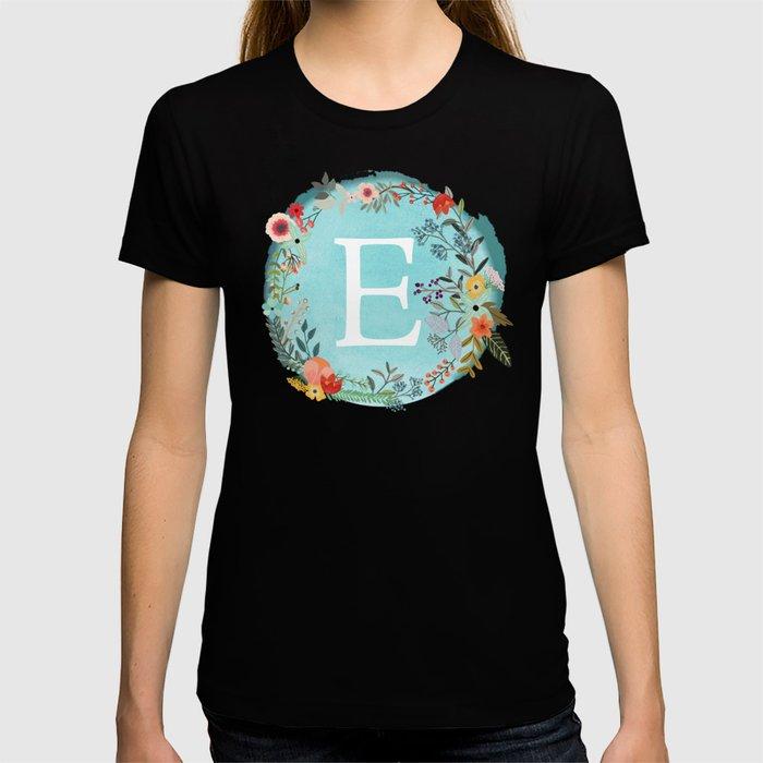 Personalized Monogram Initial Letter E Blue Watercolor Flower Wreath Artwork T-shirt