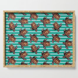 turtles in stripes Serving Tray