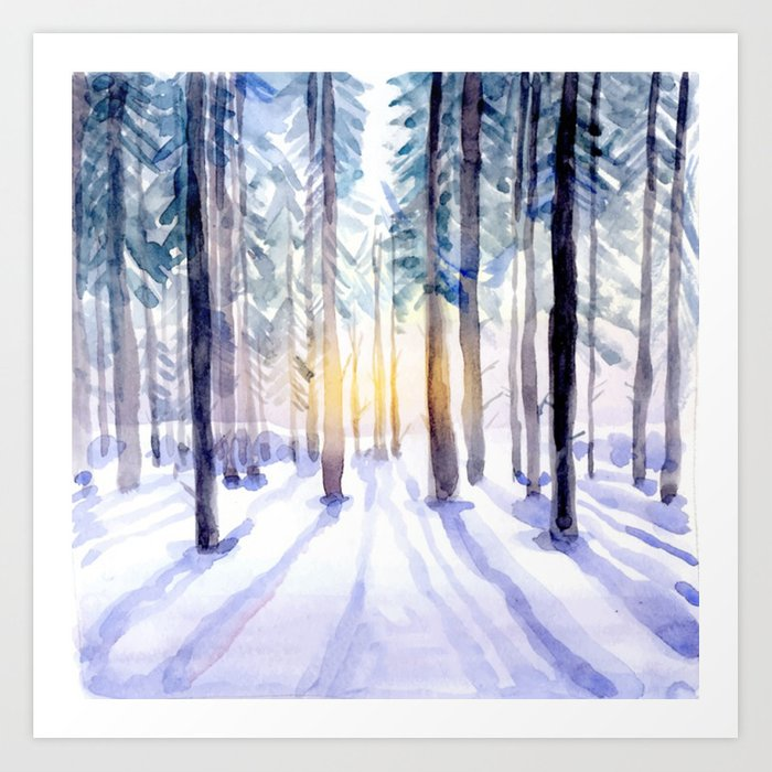 Sunday's Society6 | Winter woods wonderland watercolor art print
