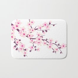 Cherry Blossom Pink White Bath Mat