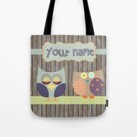 toddler Tote Bags featuring Woden Art Print Owls Customize your Name infant baby children toddler room interior design by Lubo