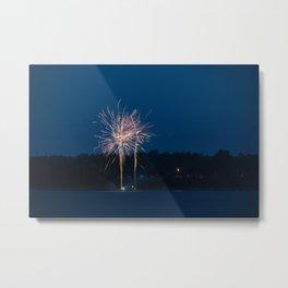 Fireworks Over Lake 23 Metal Print