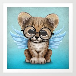 Cheetah Cub with Fairy Wings Wearing Glasses on Blue Art Print