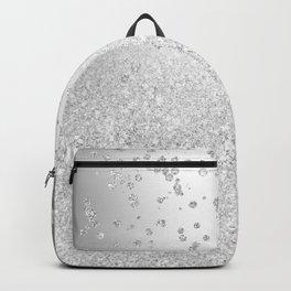 Modern silver glitter ombre metallic sparkles confetti Backpack