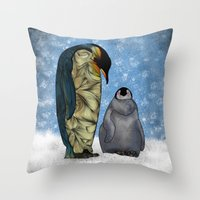 power Throw Pillows featuring Emperor Penguins by Ben Geiger