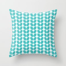 leaves - aqua Throw Pillow