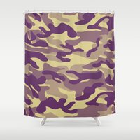 military Shower Curtains featuring Purple Military Camouflage Pattern by SW Creation