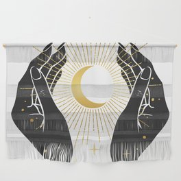 Gold La Lune In Hands Wall Hanging