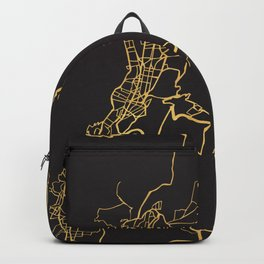 QUITO ECUADOR GOLD ON BLACK CITY MAP Backpack