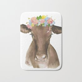 Brown Cow with Floral Wreath Bath Mat