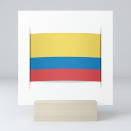 Flag of Colombia. The slit in the paper with shadows. Mini Art Print