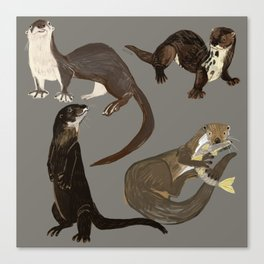 Old World otters Canvas Print