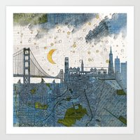 san francisco map Art Prints featuring San Francisco skyline old map by Paula Belle Flores