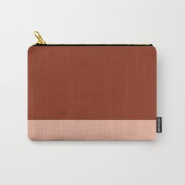 Rich Maroon Rust and Pale Salmon Color Block Carry-All Pouch