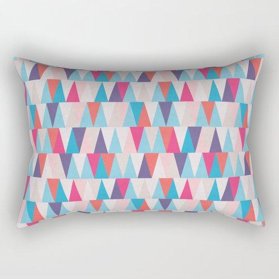 Blue & Pink Geometric Triangle Pattern Rectangular Pillow