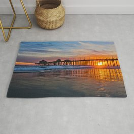 HB Sunsets - Sunset At The Huntington Beach Pier 3/10/16 Rug