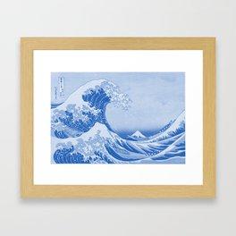 Cerulean Blue Porcelain Glaze Japanese Great Wave Framed Art Print
