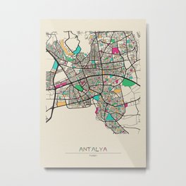 Colorful City Maps: Antalya, Turkey Metal Print