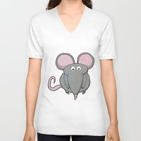 mouse V-neck T-shirts featuring Mouse by Rafael Martinez