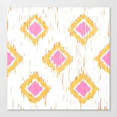 Simple, Painterly Ikat With Pink, Light and Dark Orange Canvas Print