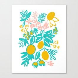 Lemon Floral Canvas Print