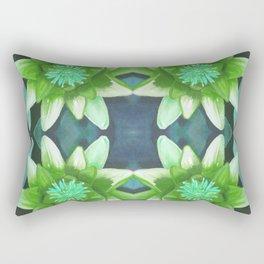 Teal Green Bromeliad Pattern Rectangular Pillow