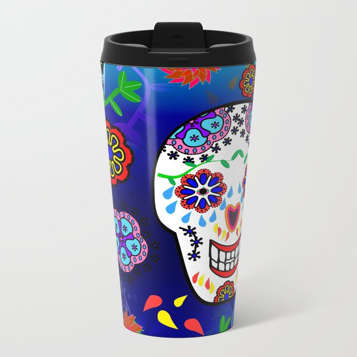 Sugar Skulls in Blue Metal Travel Mug
