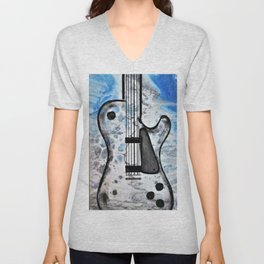 Guitar Art. Featured on back cover of The Music and Art of Black Cat Records. Unisex V-Neck