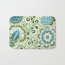 Aqua and green Paisley Flowers - by Jezli Pacheco Bath Mat