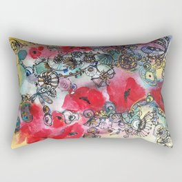 Red poppies and other flowers Rectangular Pillow