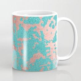 Modern turquoise glitter faux rose gold marble Coffee Mug