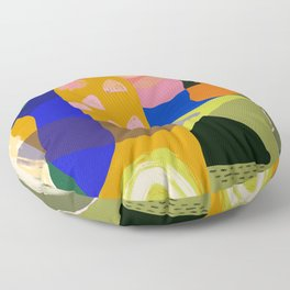 Shapes and Layers no.20 - Abstract painting olive green blue orange black Floor Pillow
