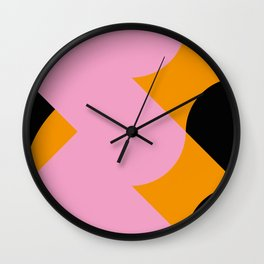 Vertical black and orange waves, in a pink sea, near three black orange mountains. Wall Clock