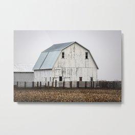 White Barn - Large Weathered Barn in Illinois Metal Print