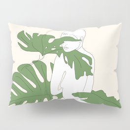 Woman with Monstera Leaves Pillow Sham