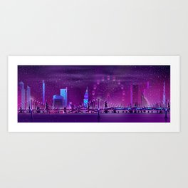 Synthwave Neon City #3 Art Print