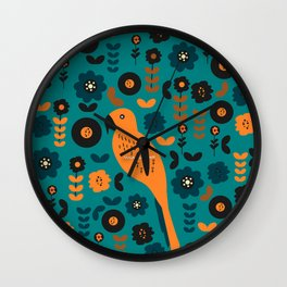 Parrot and flowers Wall Clock