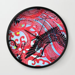 Waves and Cranes Chinoiserie Inspired Wall Art Print | Japanese Katagami Stencil Design in Black, Red Wall Clock