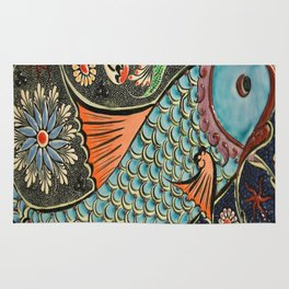 bohemian folk art orange aqua blue japanese good luck koi fish Rug