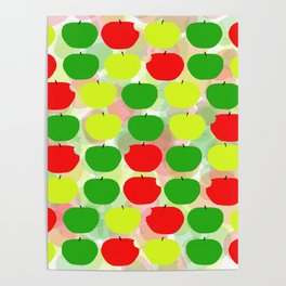 Summer Apple Picking Green, Red and Yellow Poster