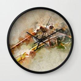 "Dragonfly ""Sympetrum striolatum"" - watercolor Wall Clock"